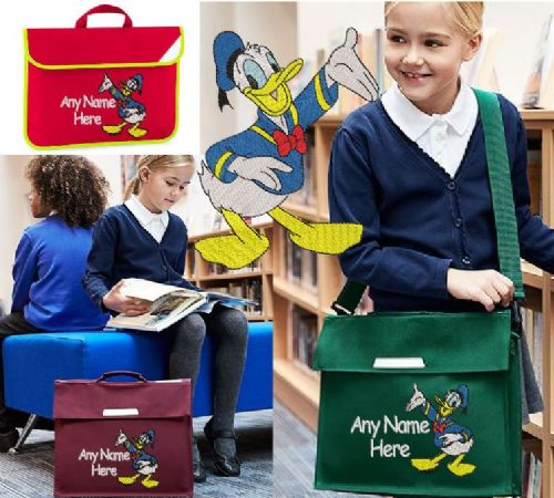 Donald Duck design Book bag - available in choice of sizes, colour and spec.  Personalised.